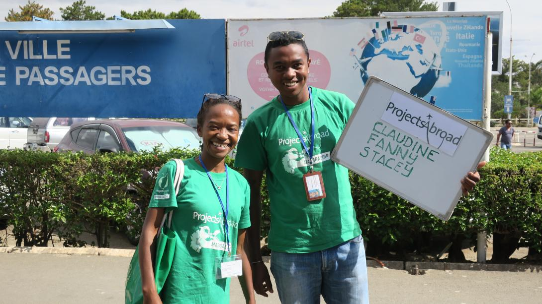 Projects Abroad staff wait for volunteers to arrive at the airport in Madagascar.